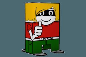 Der Muluc-das Maskottchen von biologisch.at - Muluc-Bastelvorlage zum Ausdrucken